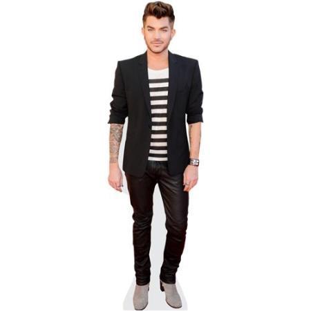 A Lifesize Cardboard Cutout of Adam Lambert (Striped Tshirt) wearing a T-Shirt