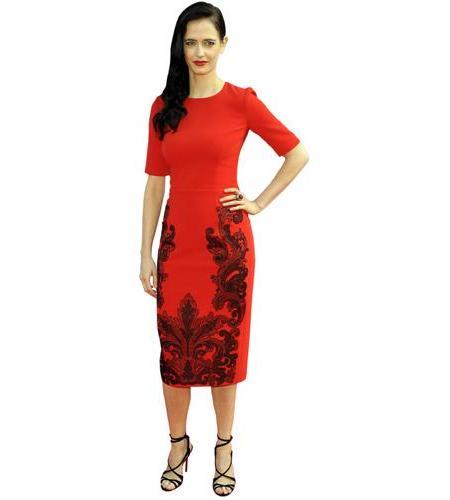 A Lifesize Cardboard Cutout of Eva Green wearing a red dress