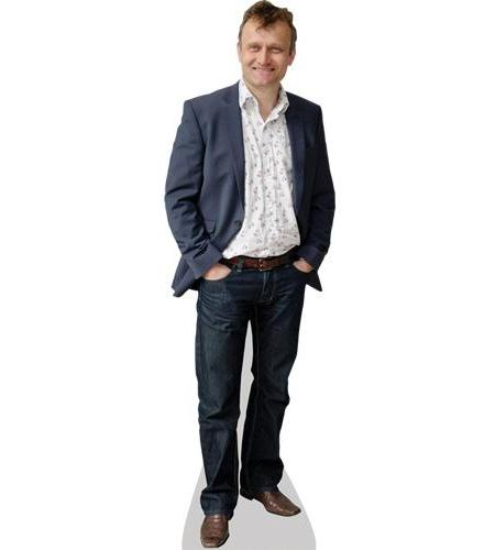 A Lifesize Cardboard Cutout of Hugh Dennis wearing a suit