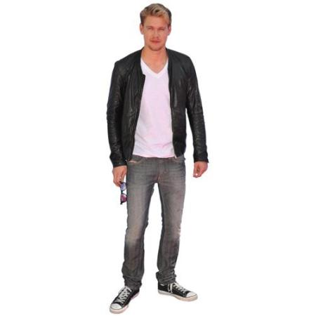 A Lifesize Cardboard Cutout of Chord Overstreet wearing leather