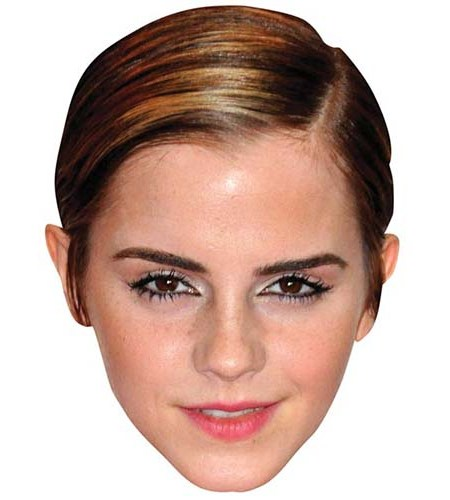 A Cardboard Celebrity Mask of Emma Watson