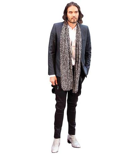 A Lifesize Cardboard Cutout of Russell Brand wearing a long scarf