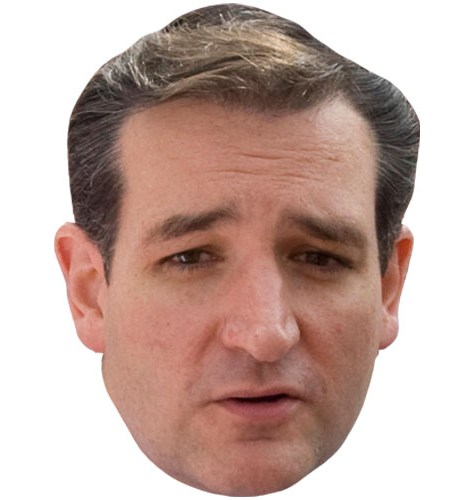 A Cardboard Celebrity Mask of Ted Cruz