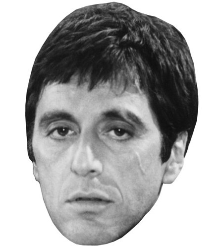 A Cardboard Celebrity Mask of Al Pacino (B&W)