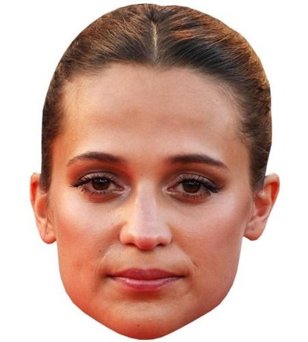 A Cardboard Celebrity Mask of Alicia Vikander