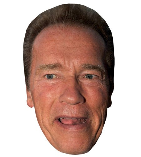 A Cardboard Celebrity Mask of Arnold Schwarzenegger