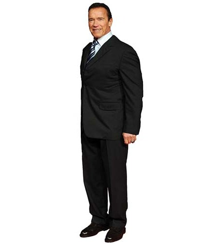 A Lifesize Cardboard Cutout of Arnold Schwarzenegger wearing a suit