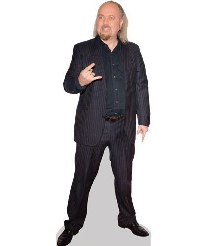 A Lifesize Cardboard Cutout of Bill Bailey wearing a suit
