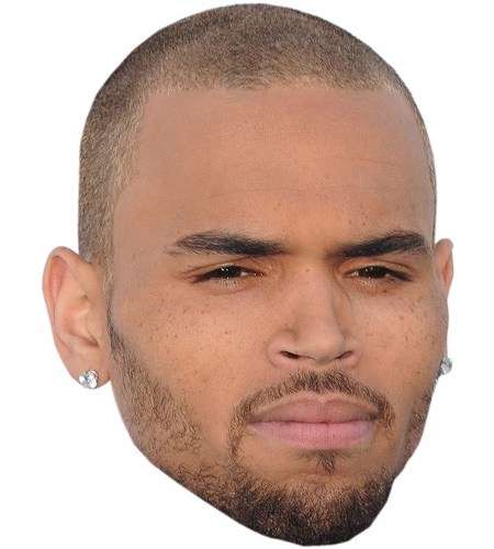 A Cardboard Celebrity Mask of Chris Brown