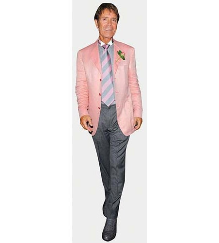 A Lifesize Cardboard Cutout of Cliff Richard wearing a pink jacket