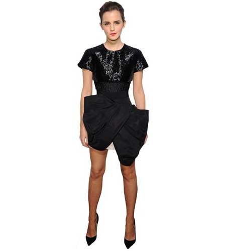 A Lifesize Cardboard Cutout of Emma Watson wearing a short black dress