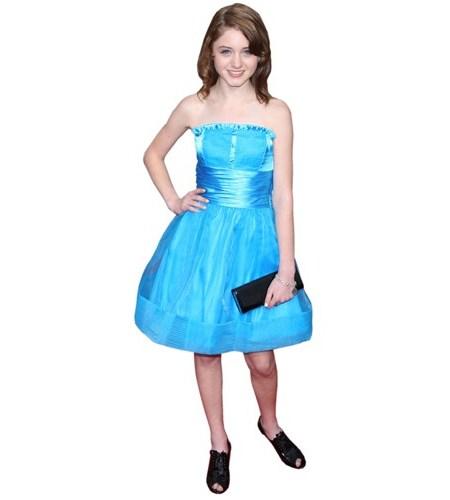 A Lifesize Cardboard Cutout of Natalia Dyer wearing a blue dress