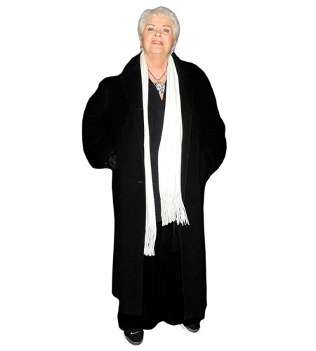 A Lifesize Cardboard Cutout of Pam St. Clement wearing a big coat