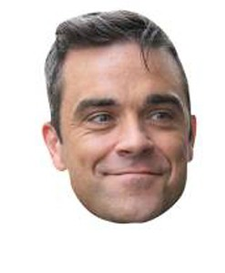 A Cardboard Celebrity Mask of Robbie Williams