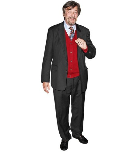 A Lifesize Cardboard Cutout of Stephen Fry wearing a suit
