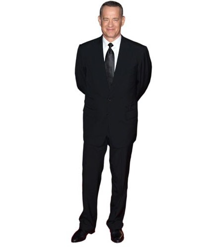 A Lifesize Cardboard Cutout of Tom Hanks wearing a suit