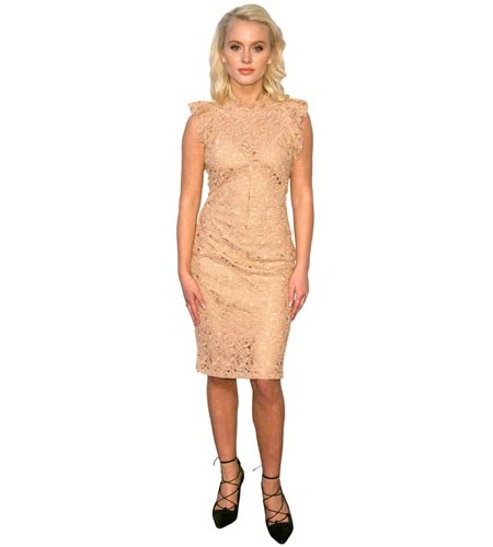 A Lifesize Cardboard Cutout of Zara Larsson wearing a peach dress