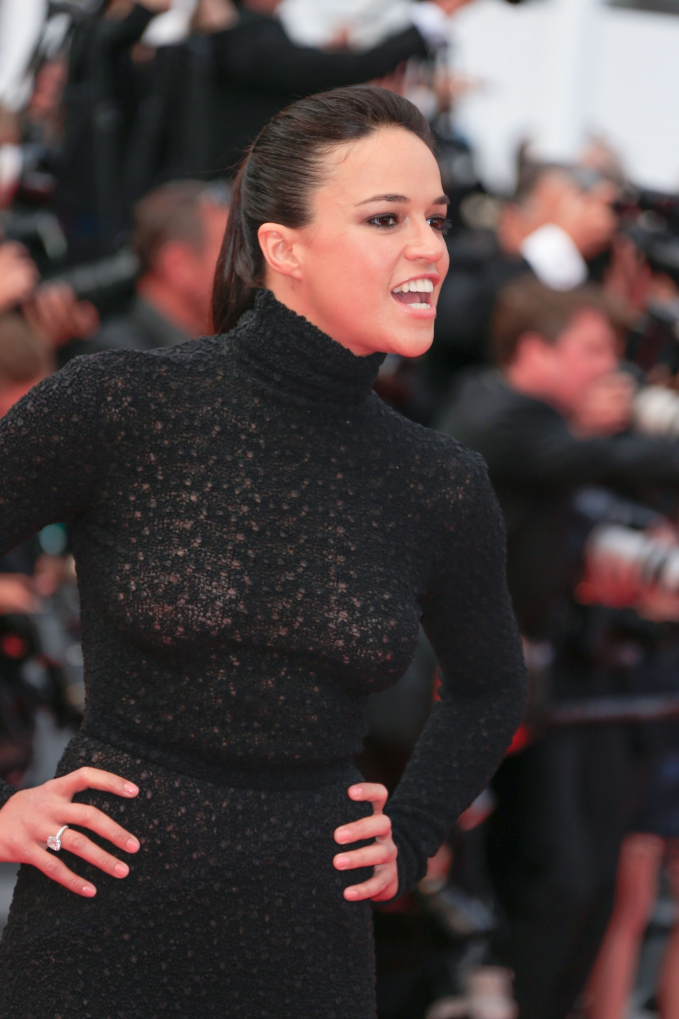 Michelle Rodriguez Wearing A See Through Dress At Cannes