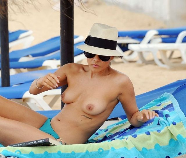 Roxanne Pallett Topless Sunbathing On The Beach In