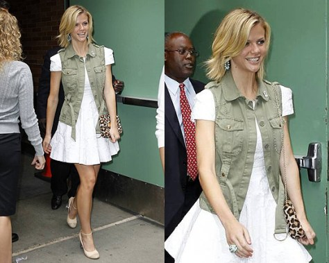 Brooklyn Decker in Tibi Dress and Sanctuary Vest