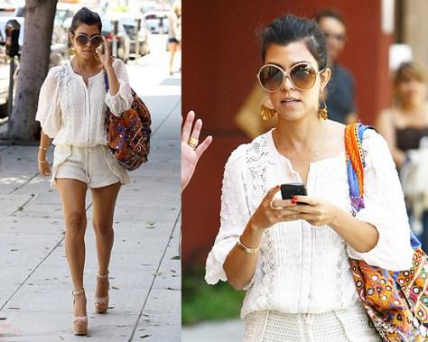 Kourtney Kardashian in T-Bags Swiss Dot Blouse