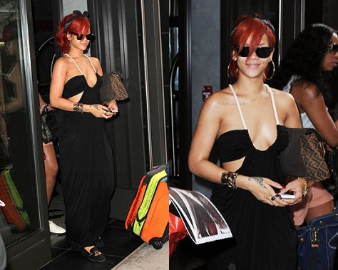 Rihanna in Torn by Ronni Kobo Sharon Maxi