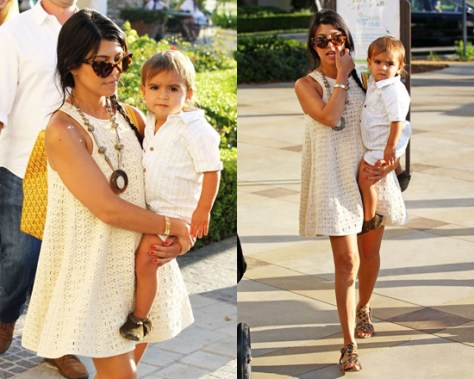 Kourtney Kardashian in Tibi Lo Bello Crochet Dress