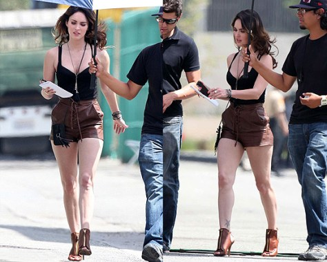 Megan Fox on set wearing Givenchy Cutout leather ankle boots