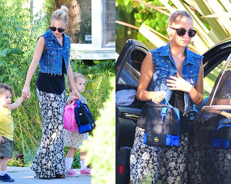 Nicole Richie takes kids to school in Winter Kate Floral Skirt