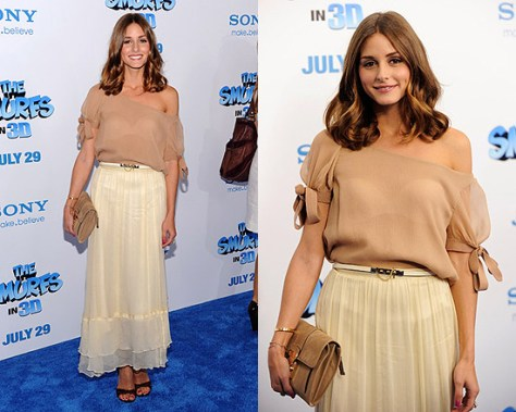 Olivia Palermo in Elizabeth and James Flared Maxi Skirt