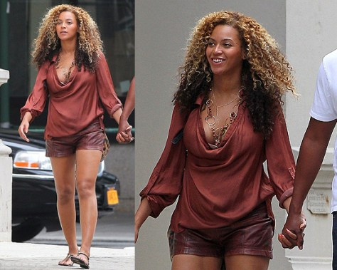 Beyonce goes casual in NYC wearing Vince Cowl Neck Blouse