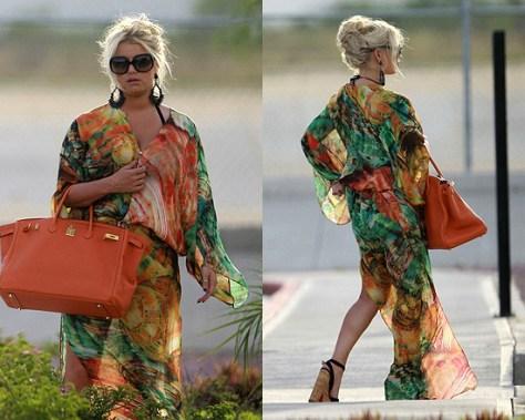 Jessica Simpson in Mexico wearing Roberto Cavalli Long Kaftan Silk Dress