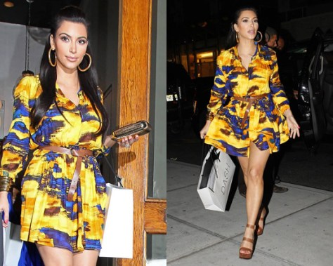Kim Kardashian in Thakoon Diagonal Drape Dress