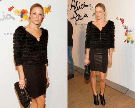 LeAnn Rimes in Alice + Olivia Gerri Leather Bustier Dress in Black