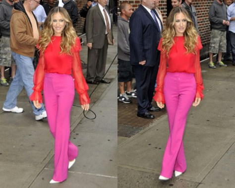 Sarah Jessica Parker wearing Preen Pink Razor Skinny Wool Trousers