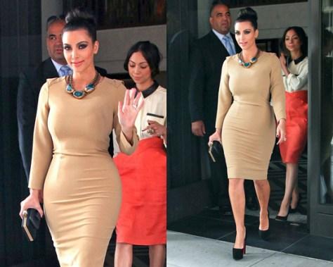 Kim Kardashian in Rachel Roy Drape Back Dress
