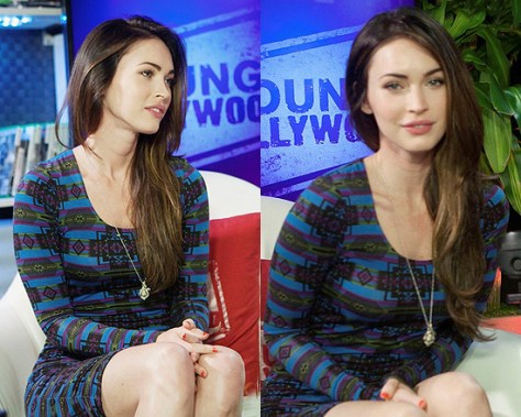 Megan Fox in Torn by Ronny Kobo Zoe Aztec Print Ruched Dress