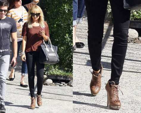 Nicole Richie in House of Harlow 1960 Nelly Kilty Platform Booties