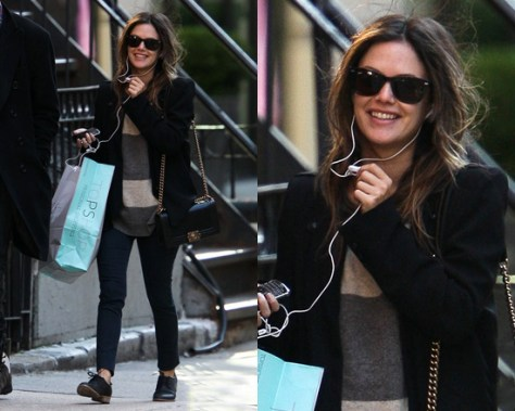 Rachel Bilson wearing Vince Rugby Striped Crew Neck Sweater
