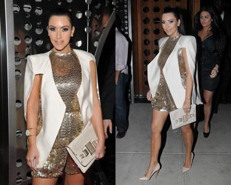 Kim Kardashian wearing Son Jung Wan Gold Romper