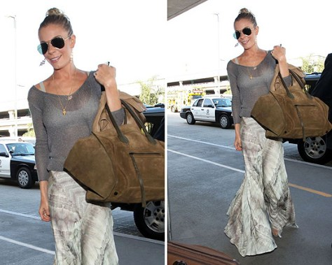 LeAnn Rimes at LAX wearing Haute Hippie Whipstitch Long Skirt