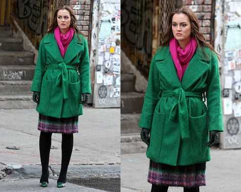 Leighton Meester wearing Diane Von Furstenberg Harrington coat on set of Gossip Girl