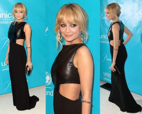 Nicole Richie attends 2011 Unicef Ball wearing Michael Kors Leather-Bodice Gown