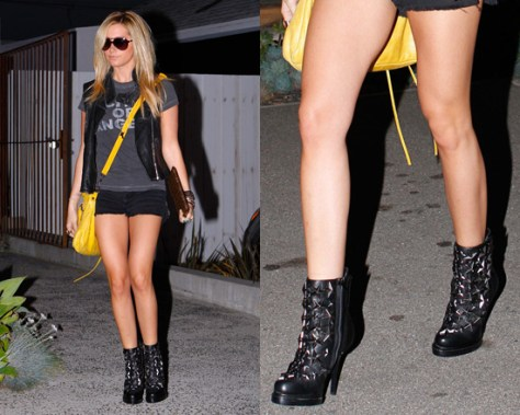 Ashley Tisdale wearing Jeffrey Campbell See-Stars Boots