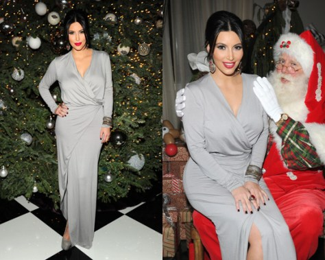 Kim Kardashian in Mason by Michelle Mason Long Sleeve Wrap Gown