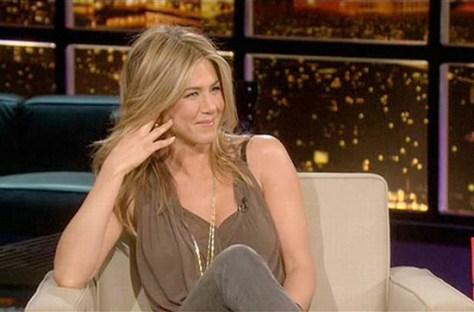 Jennifer Aniston in Helmut Lang Threadbare Crossover Top