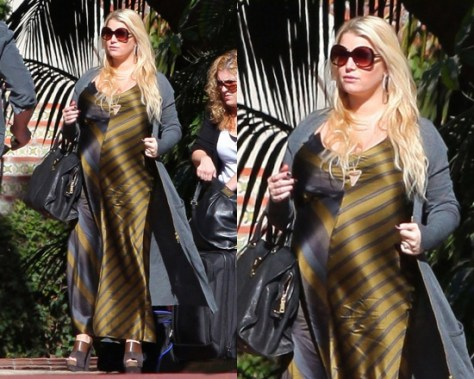 Pregnant Jessica Simpson in T by Alexander Wang Stripe Slip Dress