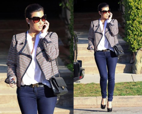 Kim Kardashian in Elizabeth And James Zig Zag Blazer
