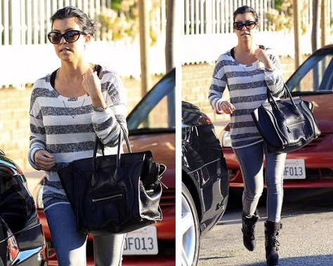Kourtney Kardashian in Splendid Double Stripe Tunic and Koolaburra Jaden Biker Boots