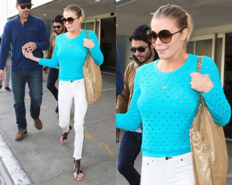 LeAnn Rimes wears Rag and Bone Eyelet Sweater and Tuxedo Jeans